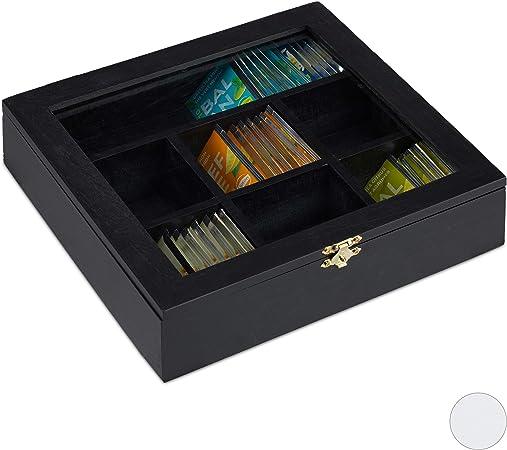 Relaxdays 10027981_46 Caja para Té e Infusiones, Siete Compartimentos, para 100 Bolsitas, 6 x 25 x 25.5 cm, 1 Ud, Negro: Amazon.es: Hogar