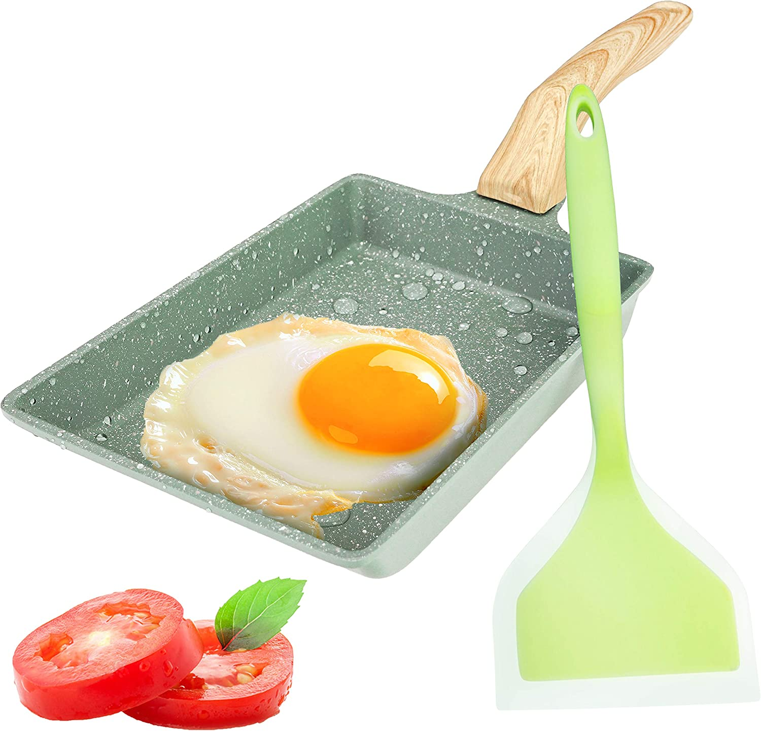 """Egg Pan, Tamagoyaki Pan, Japanese Omelette Pan, Square Pan Non-Stick Ceramic Coating Mini Frying Cooker with Anti Scalding Handle, Gas Stove and Induction Hob Compatible(7.8""""x6"""", Green)"""