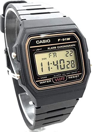 Casio Digital Watch with Black Resin Strap (F91WG 9QDF  E6lFd