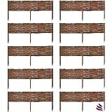 Floranica 10 X Weide Beeteinfassung, Steckzaun in 25 Größen, Rasenkante, Weidenzaun - imprägniert mit Buchepflöcke für leichtes Einsetzen, Länge:100 cm, Höhe:20 cm