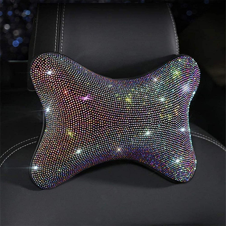 HOB4U Bling Car Neck Pillow Crystal Diamond Headrest Pillow for Car Decoration Girly Car Accessories for Women