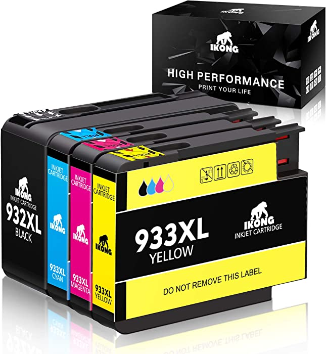 IKONG Compatible Ink Cartridge Replacement for HP 932XL 933XL 932 933 Work with HP Officejet 6600, Officejet 6700, Officejet 7612, Officejet 6100, Officejet 7610, Officejet 7110