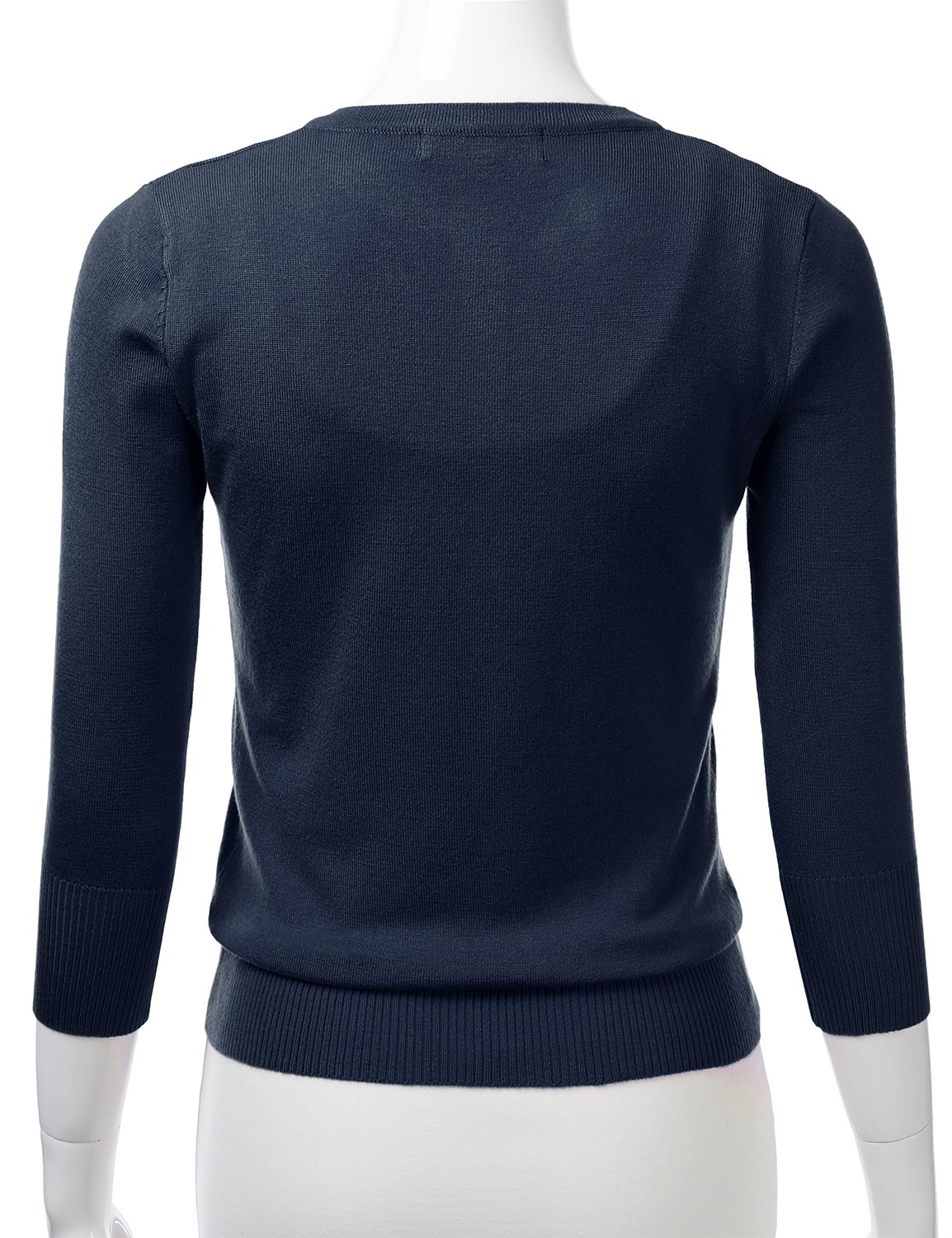 FLORIA Womens Button Down 3/4 Sleeve V-Neck Stretch Knit Cardigan Sweater Navy M by FLORIA (Image #3)