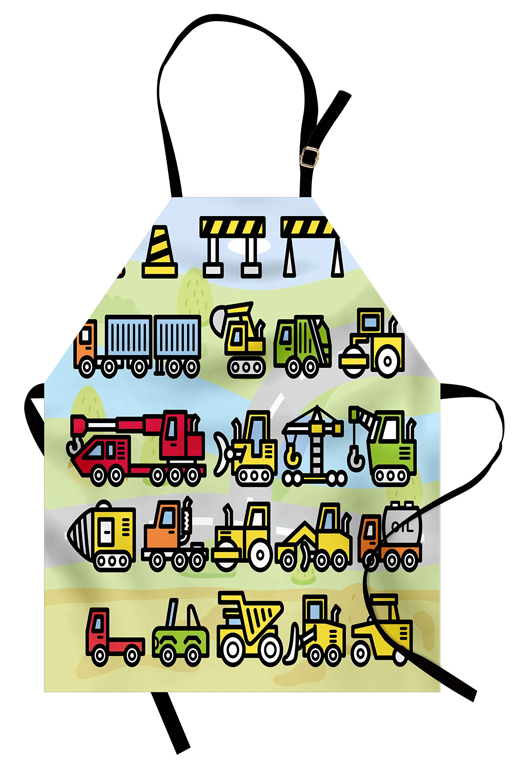Ambesonne Boy's Apron, Excavator Loader Machines Signs and Vehicles in Cartoon Style Drawing for Toddlers, Unisex Kitchen Bib Apron with Adjustable Neck for Cooking Baking Gardening, Multicolor