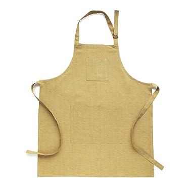 Solino Home Linen Kitchen Apron - Men & Women 100% Linen Bib Apron - Adjustable Straps with Pockets - European Flax, Mustard Gold