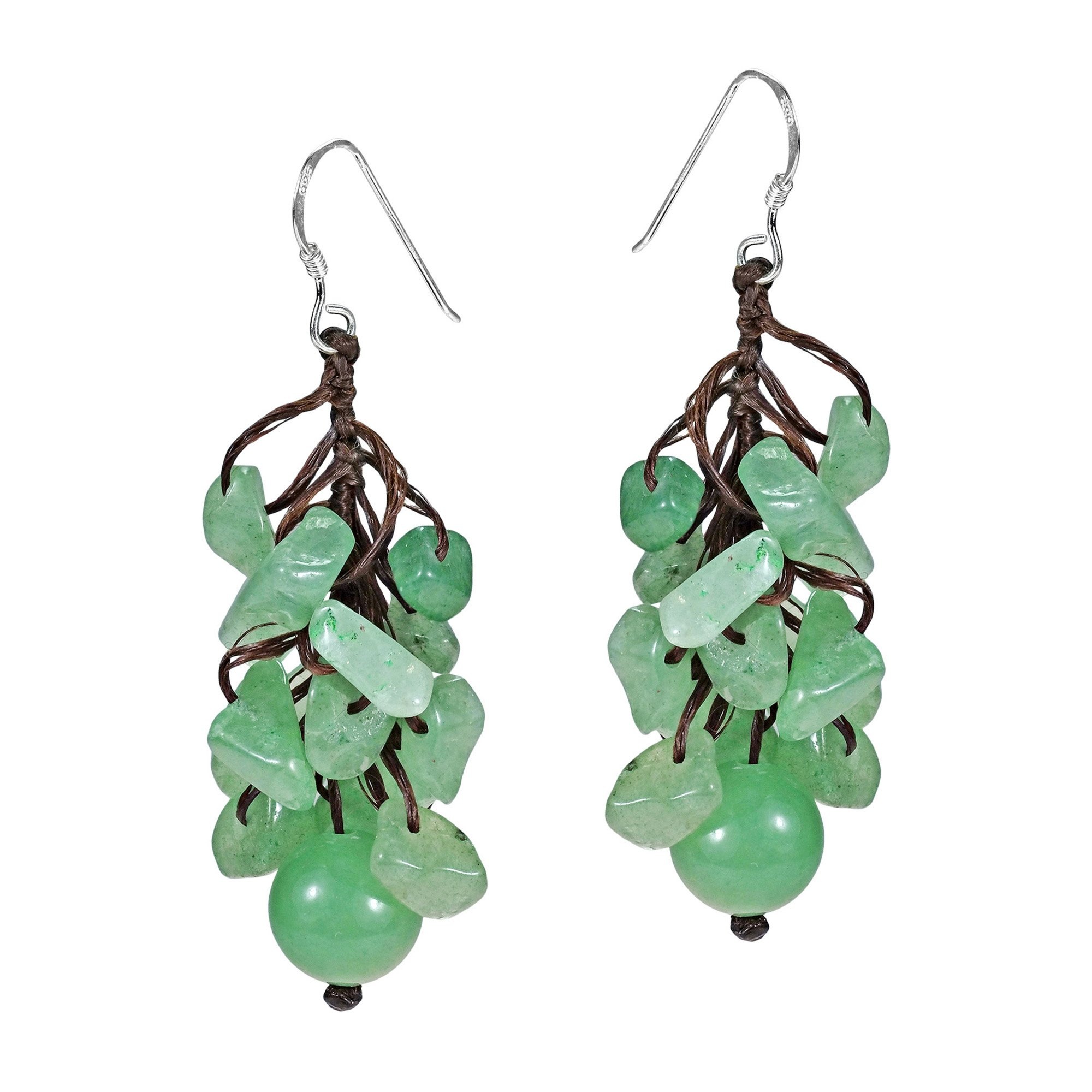 Dangle Cluster Ball Simulated Aventurine Sterling Silver Earrings by AeraVida (Image #2)
