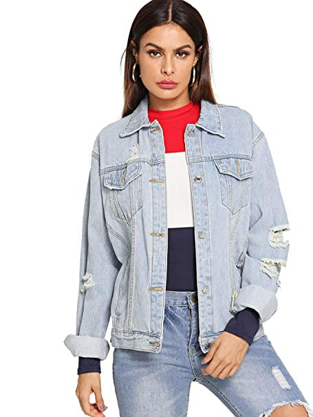 400f791aca SheIn Women's Casual Ripped Plain Button Down Denim Jacket Ripped Blue#  X-Large
