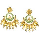 Bindhani Bollywood Style Meenakari Kundan Gold Plated Pearl Drop Indian Chandbali Earrings For Women