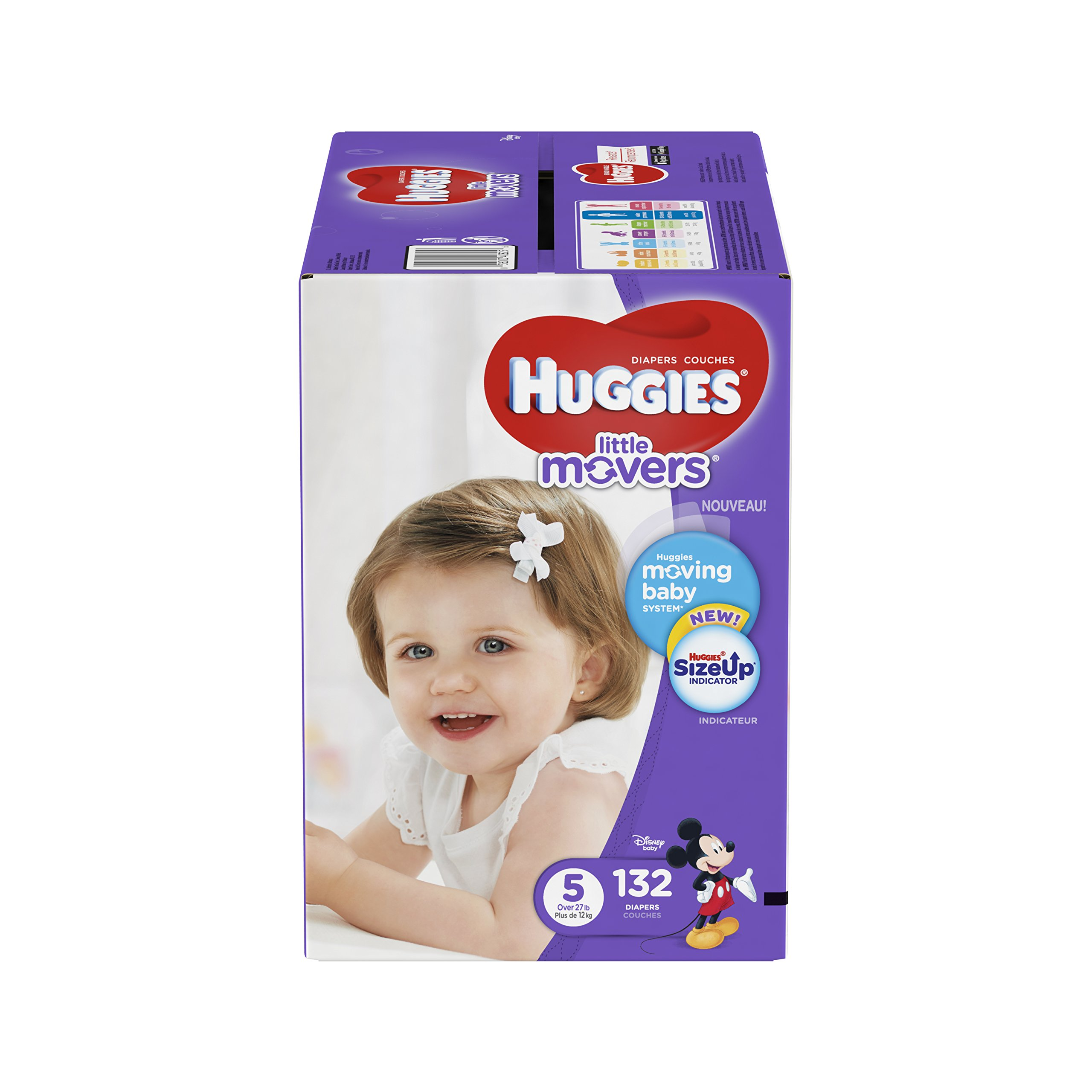 HUGGIES LITTLE MOVERS Diapers, Size 5 (27+ lb.), 132 Ct, ECONOMY PLUS (Packaging May Vary), Baby Diapers for Active Babies