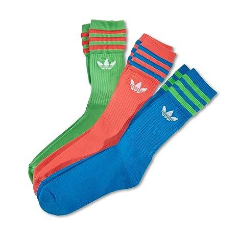 Adidas Solid Crew Sock - Calcetines Unisex, Color Azul/Blanco / Rosa, Talla