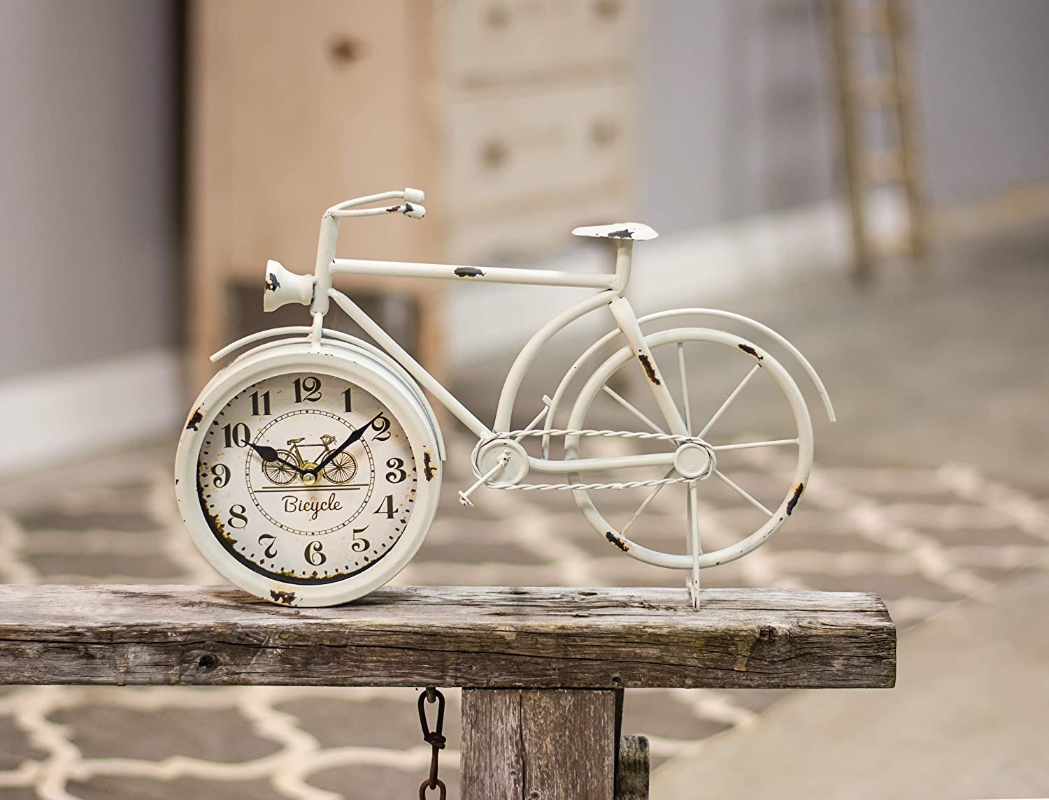 CWI Gifts Farmhouse White Bicycle Clock