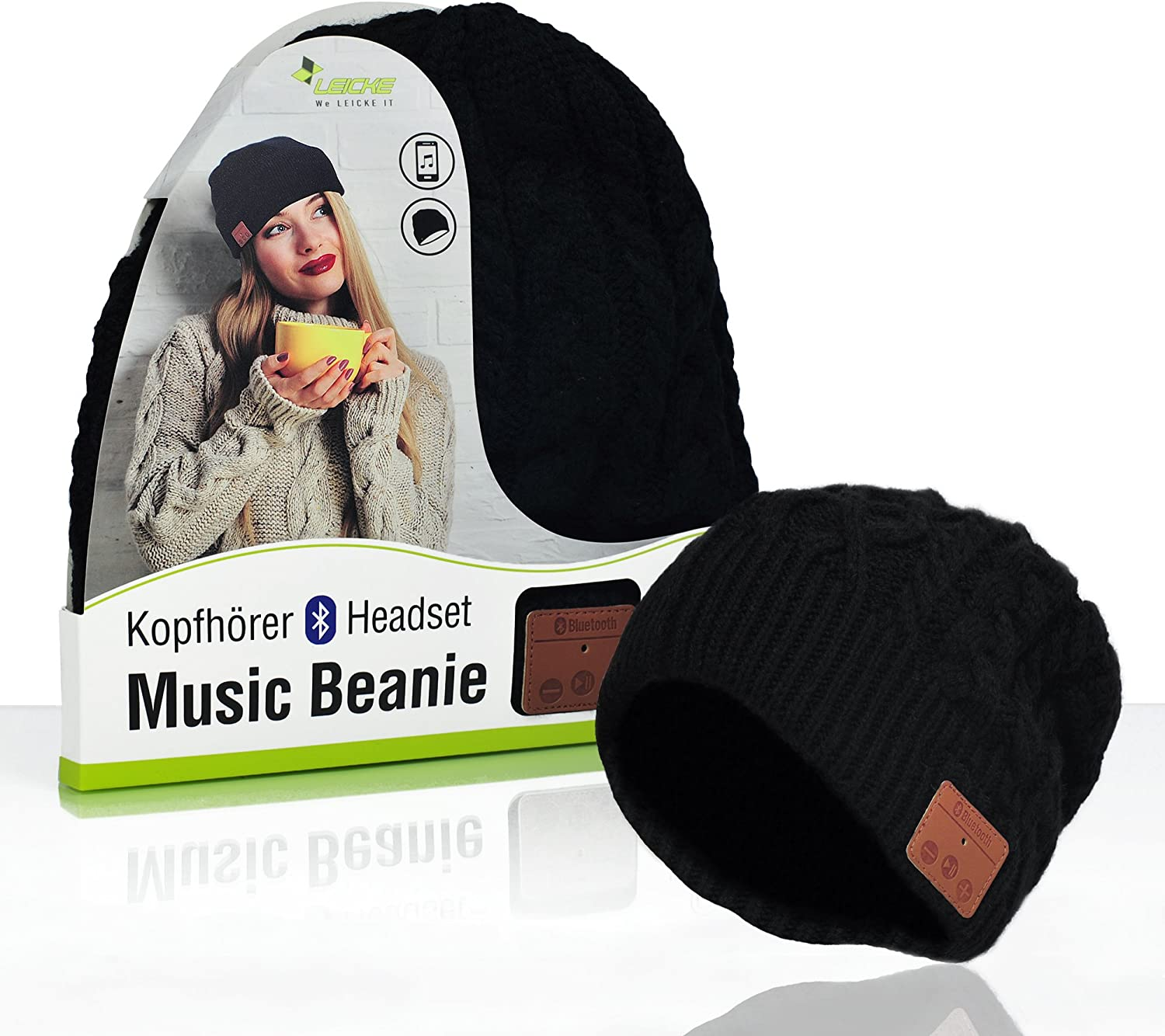 Headset to Answer calls Winter Hat with Wireless Stereo Headphones /& Microphone Flecked with Grey Knitted Sharon Music Bluetooth Beanie
