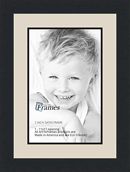 Amazon.com - 11x17 / 11 x 17 Picture Frame Satin Black .. 2\'\' wide ...