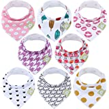 Baby Bandana Drool Bibs for Girls - Super Absorbent Organic Cotton Bandana Bibs - Baby Drool Bib - Teething Bibs - Handkerchief Bibs for Infant, Toddler - 8-Pack Bib Set - Bib Girl (Bold Bravery)