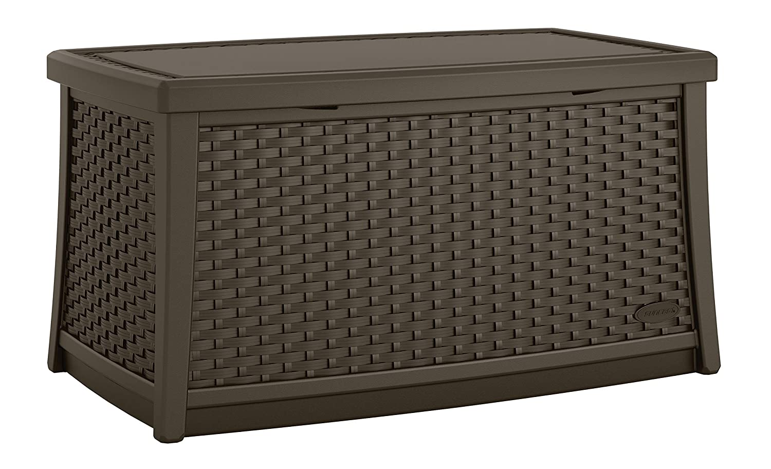 Suncast Elements Coffee Table with Storage - All-Weather, Lightweight, Resin Constructed Patio Table for Storage of Patio Accessories - Outdoor Storage Box with 30 Gallon Capacity - Java