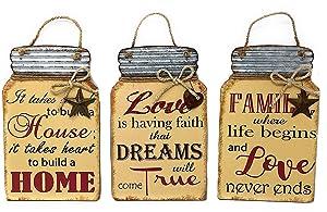 """D.I.D. Family Art Decor Faith Inspired Wall Sign Plaque Mason Jar Decor Country Farmhouse 11.5"""" x 7.25"""" (Set of 3)"""