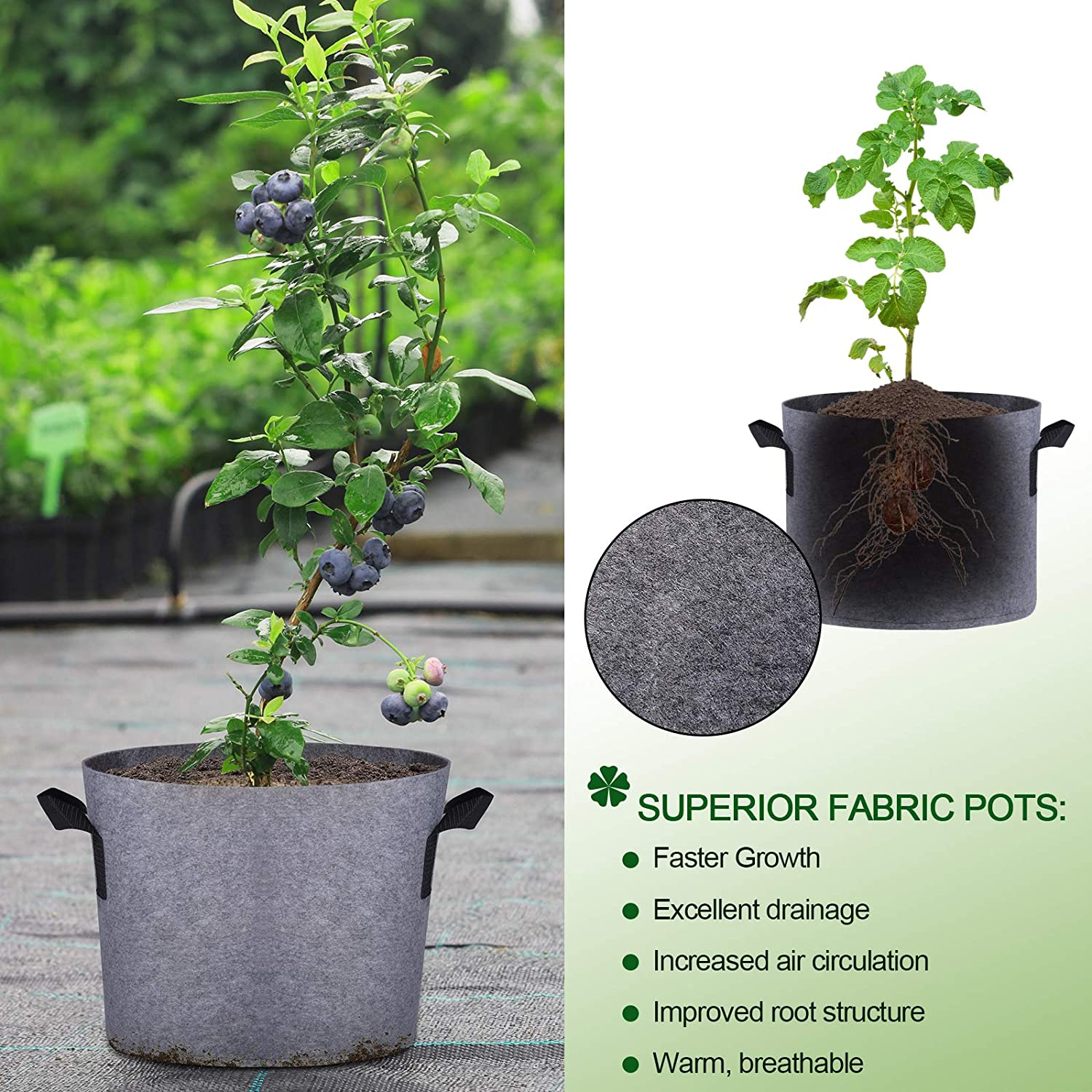 5 Gallon Gardening Plant Containers Bags 8 Pack with Labels ...
