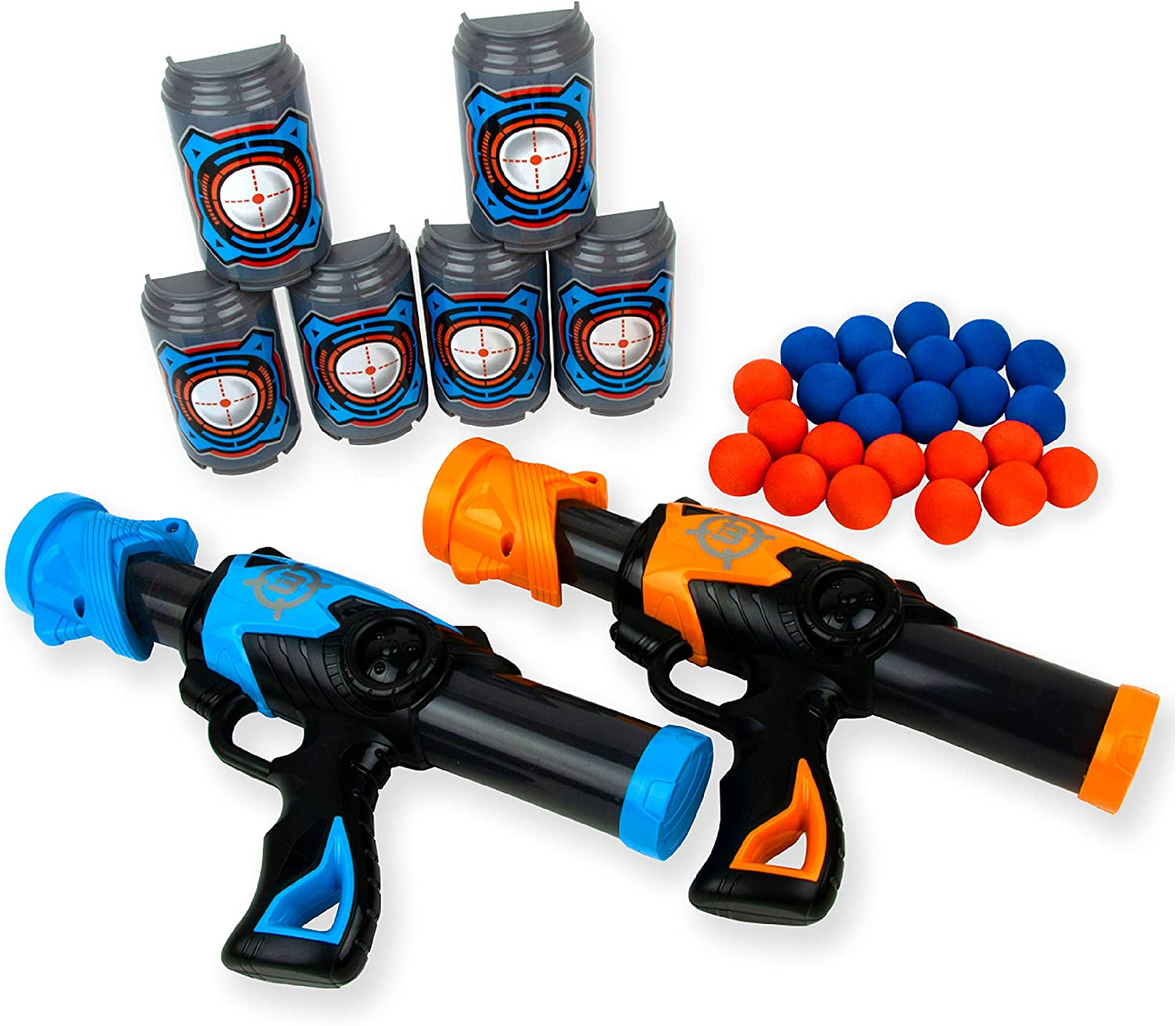 Boley Blast Poppers - 32 Piece Set with 24 Foam Balls, 6 Target Stands, and 2 Toy Guns for Boys and Girls - Plastic Fake Gun Playset for Kids Ages 3 and Up