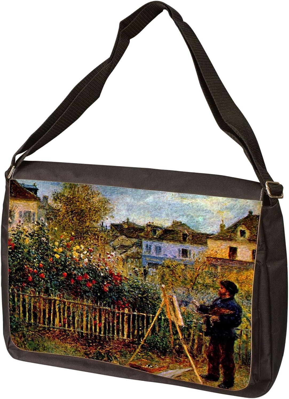 Messenger Bag Monet Painting in His Garden in Argenteuil by Claude Monet Laptop
