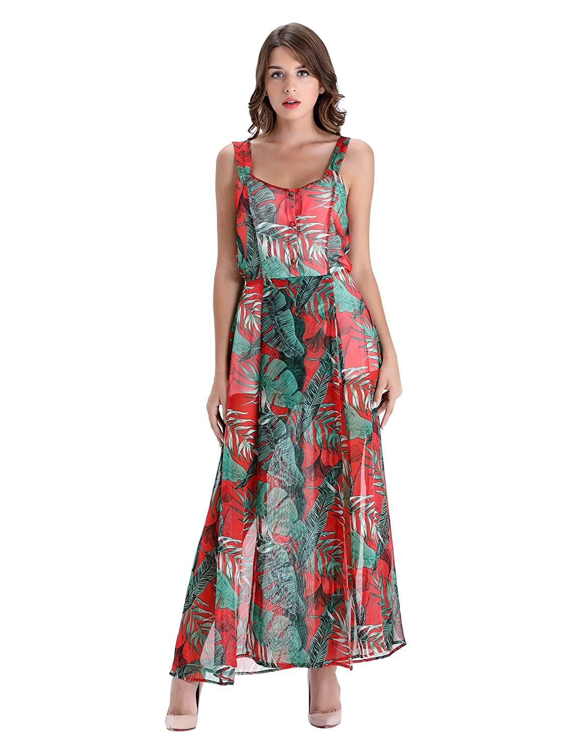 8591f51e2043b Features: Your elegance and charm will be the only thing on their mind when  they see you in the Leaves Print Maxi Dress! A green, dark yellow tropical  print ...