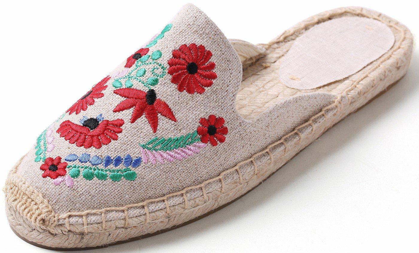 U-lite Women's Stylish Embroidery Flat Espadrilles Fancy Mule White Colorful Flower10