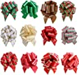 UNOMOR Christmas Gift Pull Bows for Holiday Decoration Pack of 12