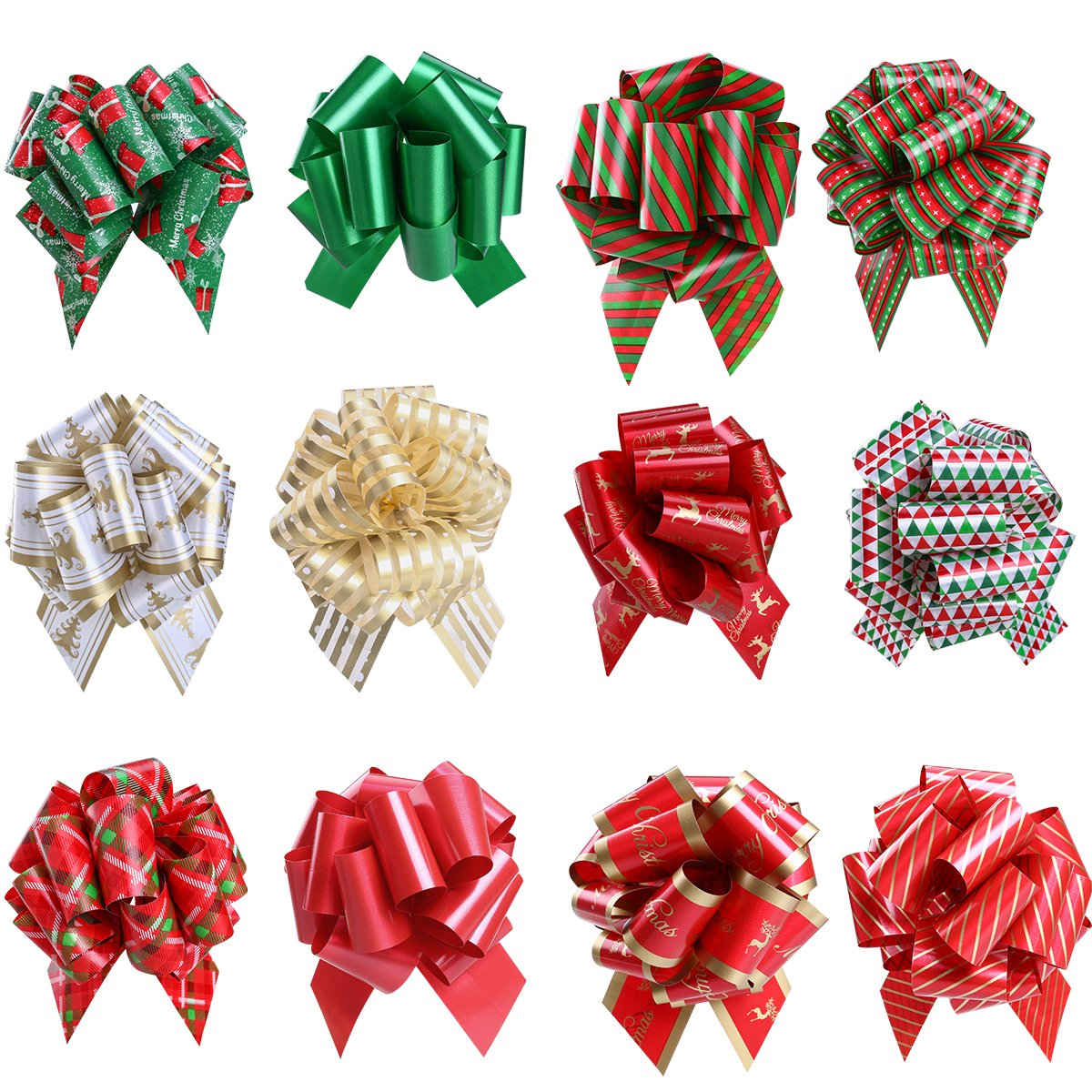 Amazon 100 pack of large christmas gift tags in 10 assorted unomor gift pull bows for new year gift christmas decorations pack of 12 negle Choice Image