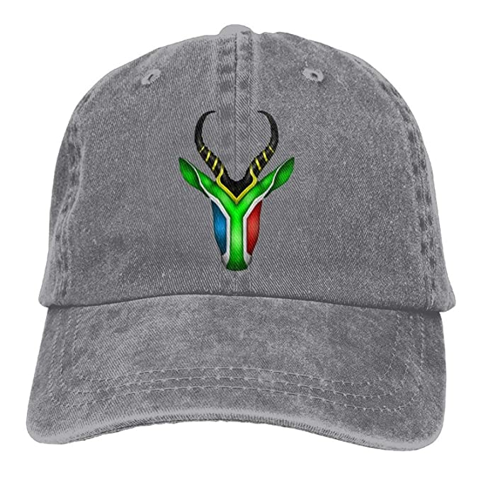 efcc2a75e99 South African Springbok Denim Hat Adjustable Flag Baseball Cap ...