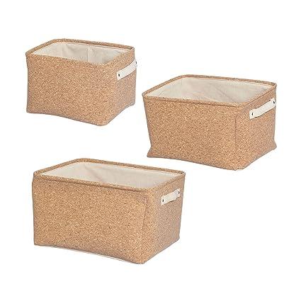 Furniteam - Cajas de almacenaje (3 Unidades, Tela, Corcho Natural, 41 x