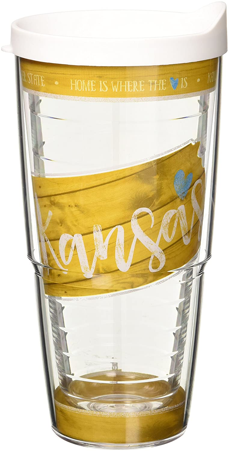 Tervis 1235255 Kansas State Wood Outline Tumbler with Wrap and White Lid 24oz, Clear