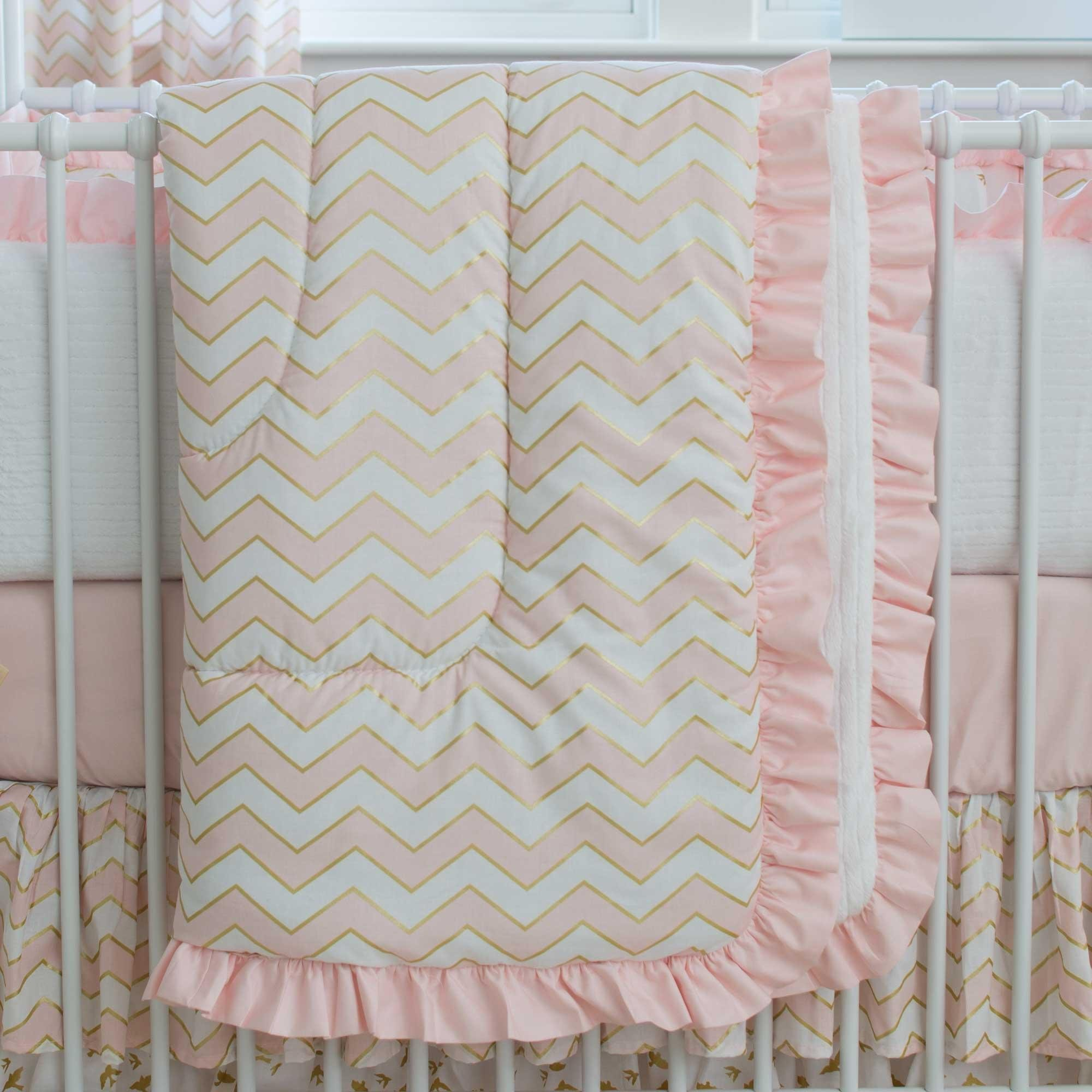 Carousel Designs Pale Pink and Gold Chevron Crib Comforter