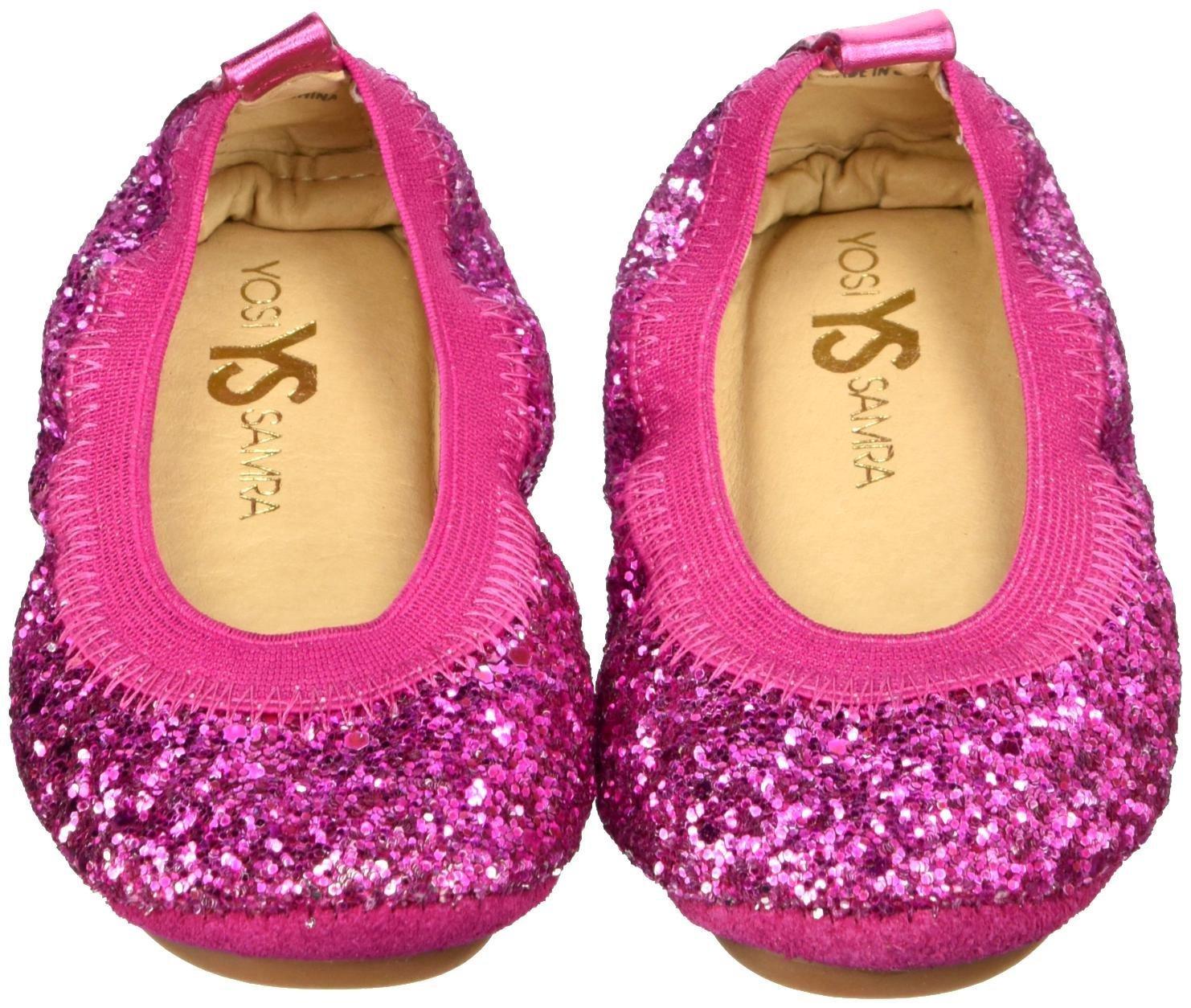 Yosi Samra Girls' Sonya Obbre Chunky Glitter-K, Shocking Pink, 7 M US Toddler