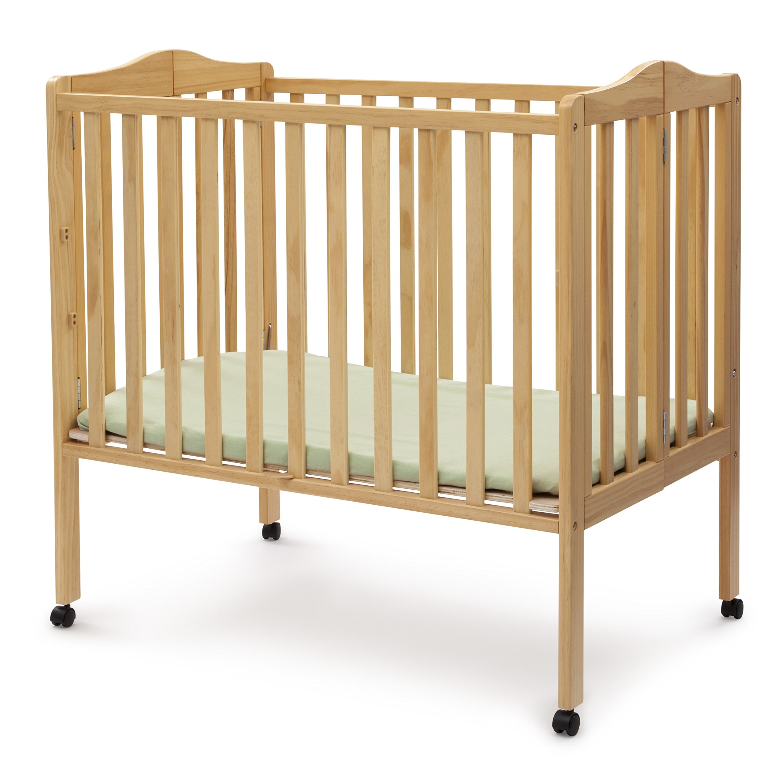 Delta Children Folding Portable Mini Crib with Mattress, Natural by Delta Children