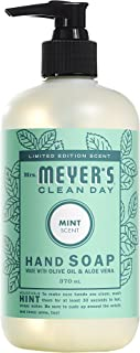 product image for Mrs. Meyer's Clean Day Liquid Hand Soap, Cruelty Free and Biodegradable Formula, Mint Scent, 12.5 oz