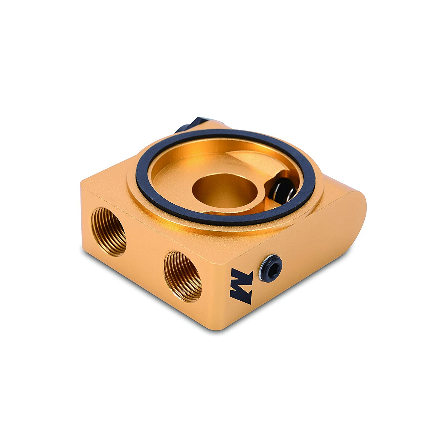 Mishimoto (MMOP-SPTR) Gold Oil Sandwich Plate with Rear-Mounted Thermostat