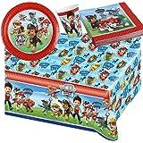37-teiliges Party-Set Paw Patrol - Teller Becher Servietten Tischdecke für 8 Kinder