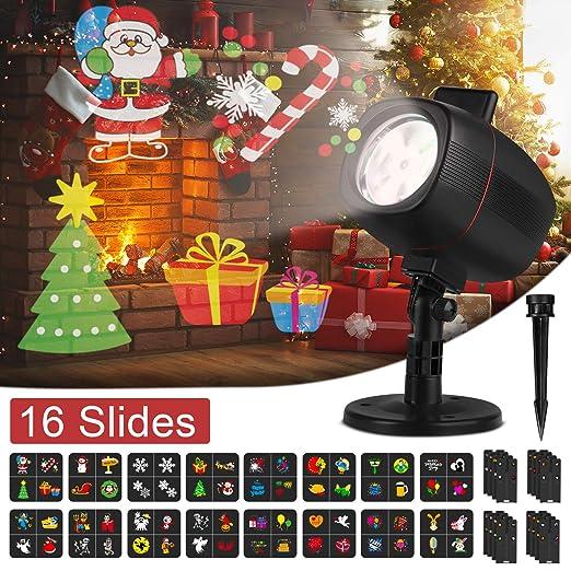 OUSFOT Luces de Proyector Navidad, Luces Navidad Impermeable ...