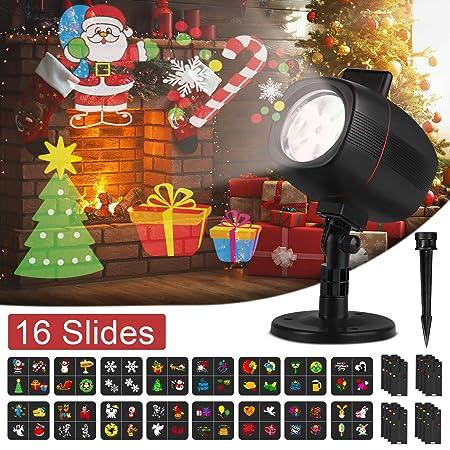 OUSFOT Luces de Proyector Navidad, Luces Navidad Impermeable Exterior con 16 Diapositivas de Patrón para Fiesta, Navidad, Festivos [Clase de ...