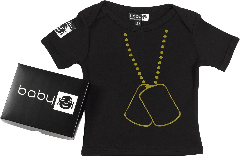 Stylish Dog Tags Baby T-Shirt Organic Cotton in Gift Box Baby Buddha