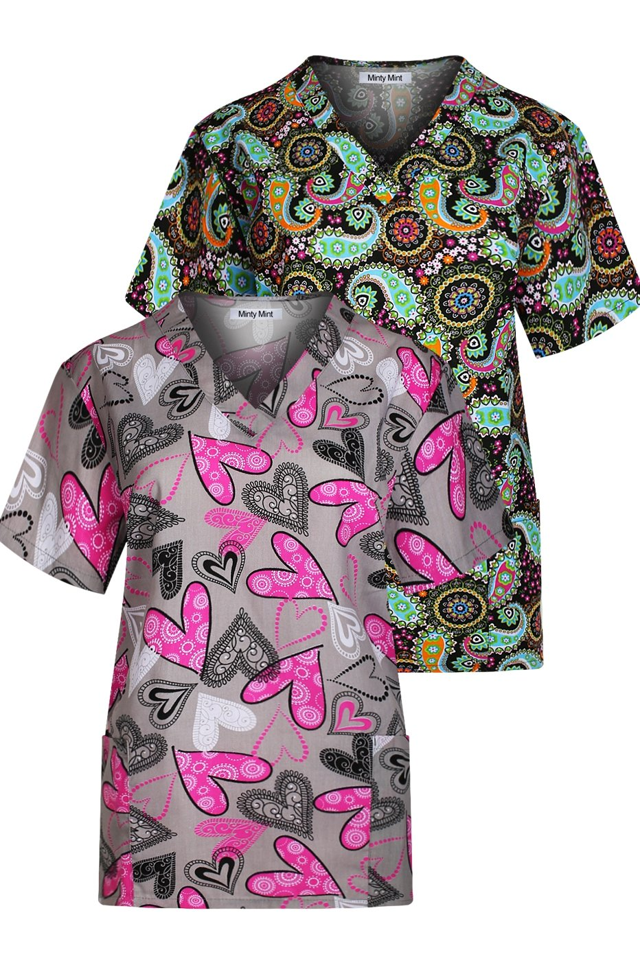 Minty Mint Women's Medical Scrub Printed V-Neck Top Multi Pack Grey Black XS
