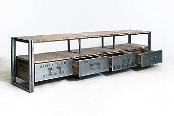 Mueble TV 4 CAJONES 208 x 40 x 55 Estilo Industrial de Madera de Barco Reciclado.: Amazon.es: Electrónica
