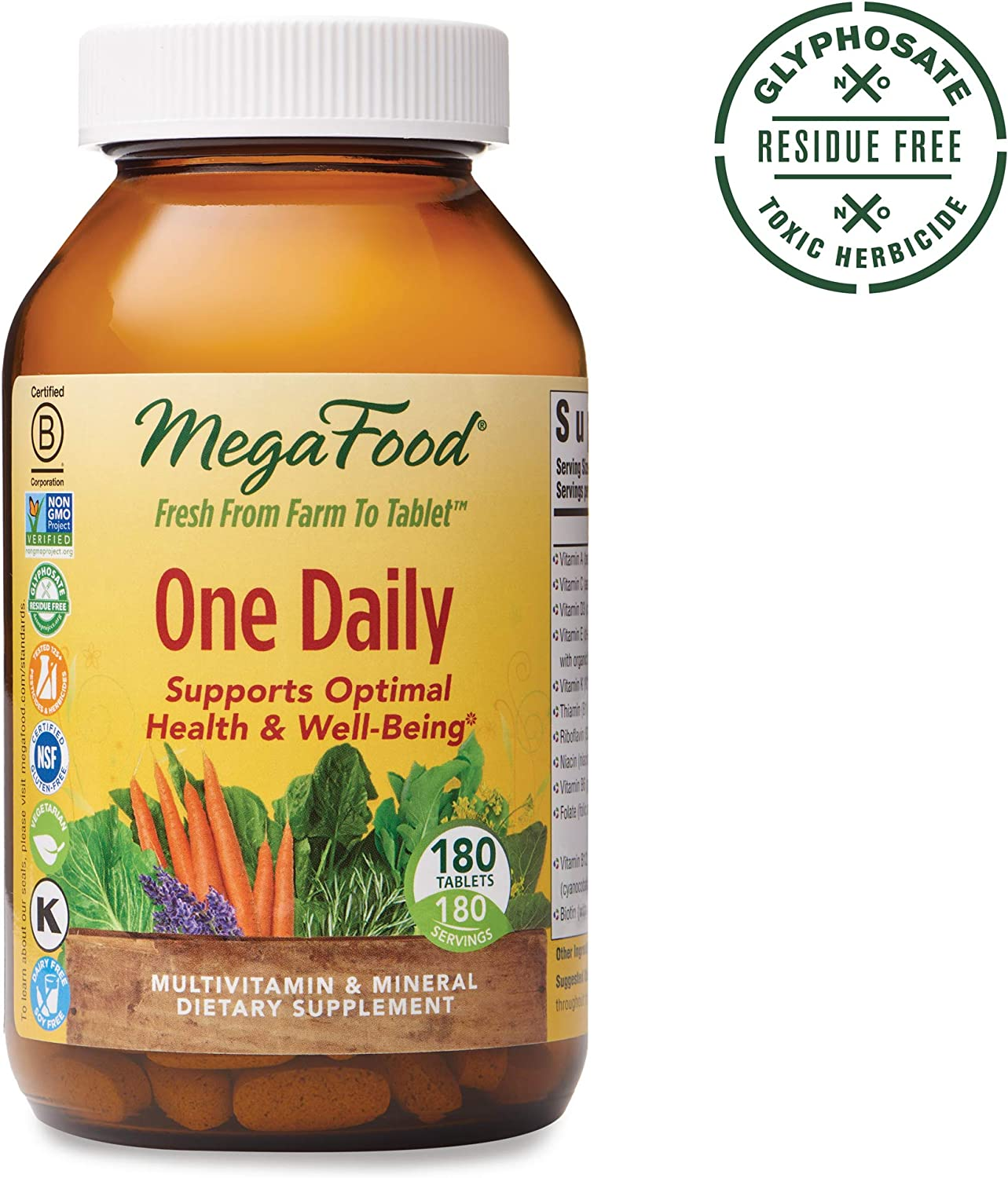 MegaFood, One Daily, Supports Optimal Health and Wellbeing, Multivitamin and Mineral Supplement, Gluten Free, Vegetarian, 180 Tablets 180 Servings FFP