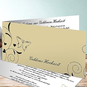 Einladungskarten Goldene Hochzeit Ohne Foto Schmetterling