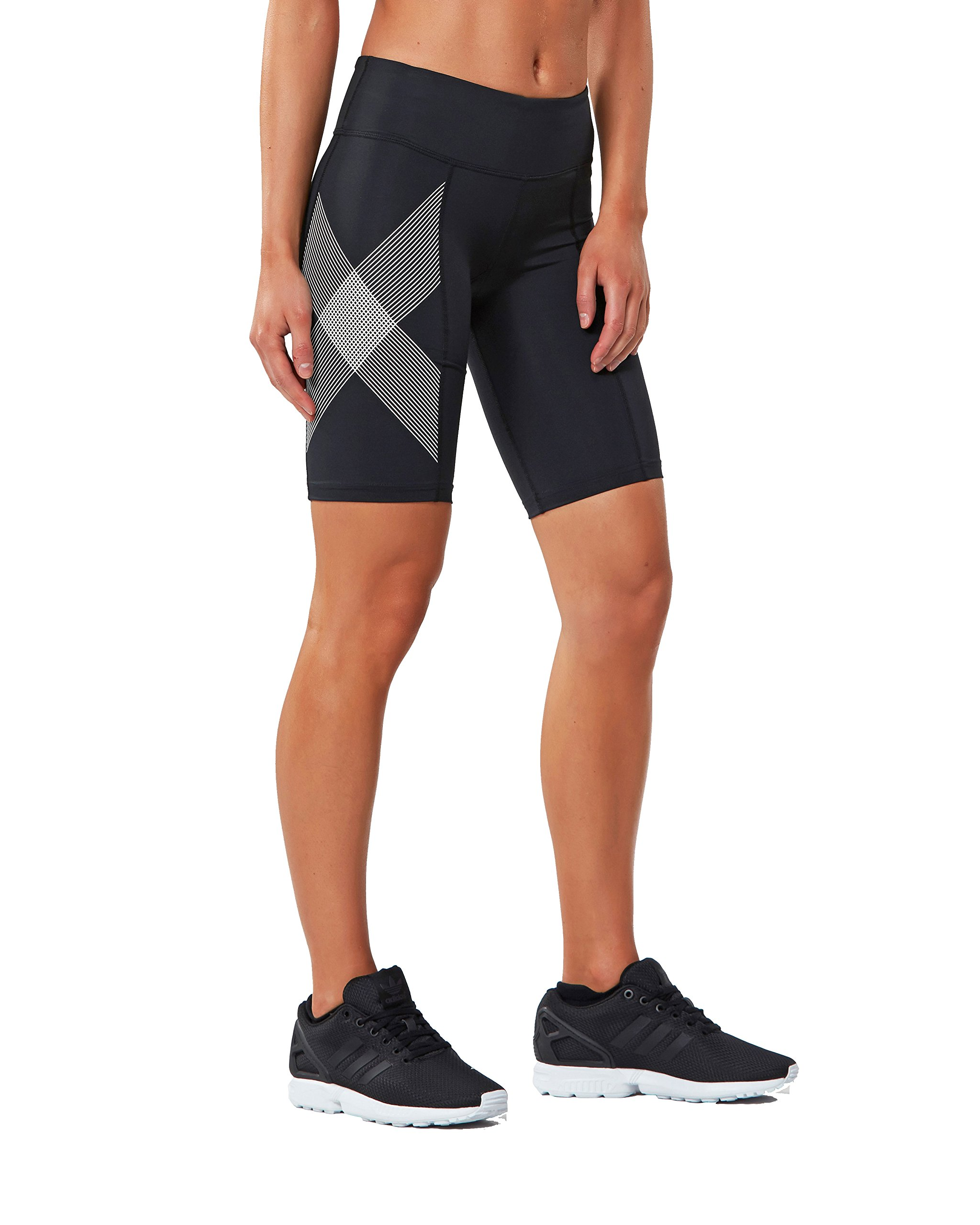 2XU Women's Mid-Rise Compression Shorts, Black/Striped White, X-Small by 2XU (Image #1)