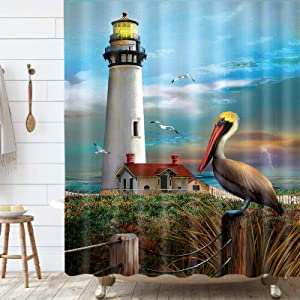 MERCHR Lighthouse Shower Curtain, Nautical Lighthouse Pelican Birds on Ocean Coastal Shower Curtain, Waterproof Polyester Stall Curtains with 12 Hooks for Bathroom Showers 69x70Inches