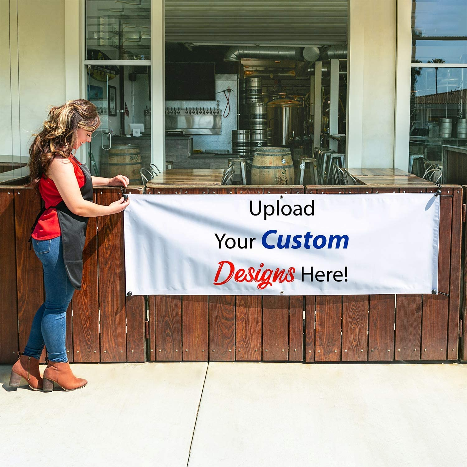 HALF PRICE BANNERS|Customize Now with Online Designer-Mesh Wind Resistant Vinyl Banner 3X2 Foot-White|with Ball Bungees /& ZipTie|Easy Hang-Made in USA