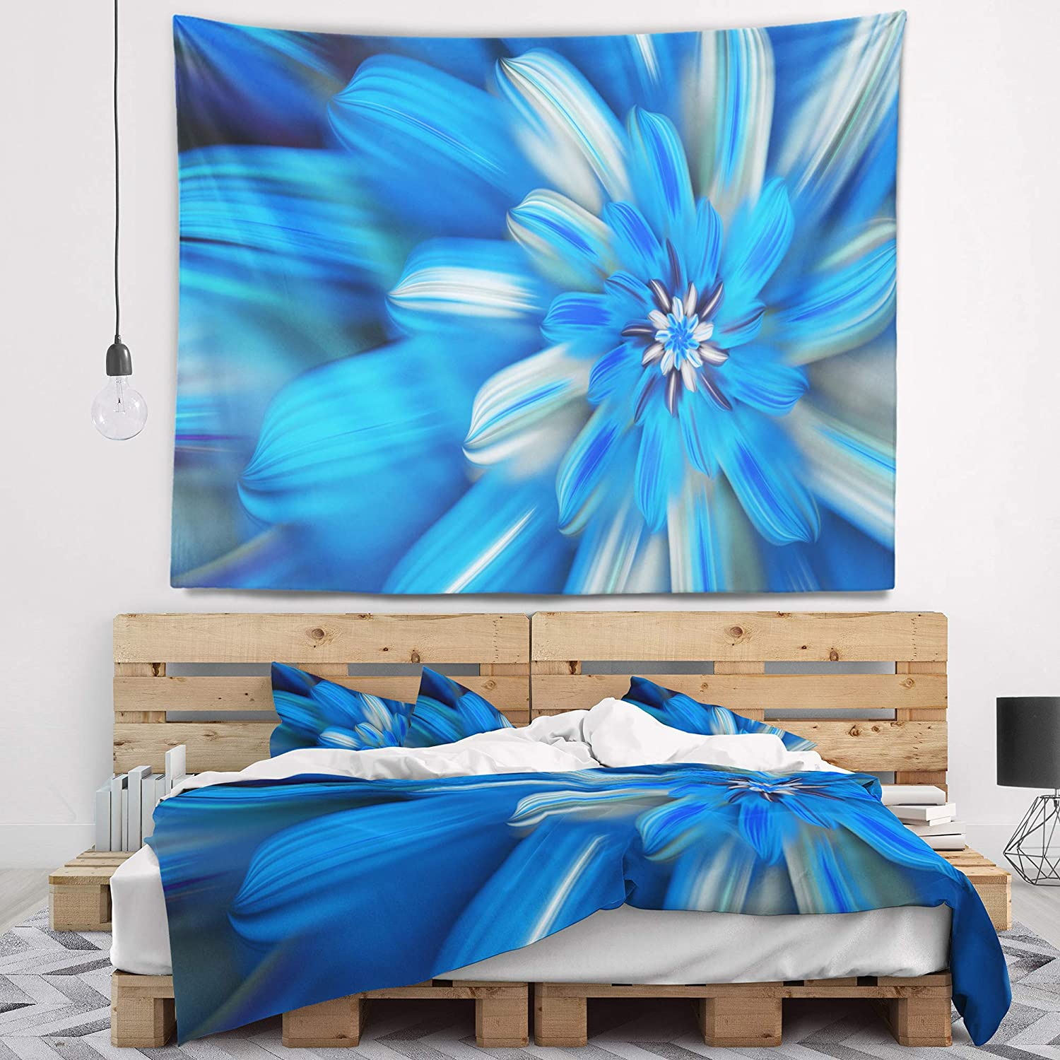 in Designart TAP15580-39-32  Exotic Dance of Blue Flower Petals Floral Blanket D/écor Art for Home and Office Wall Tapestry Medium x 32 in 39 in