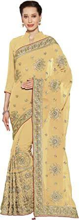 SOURBH Women's Heavy Embroidery Work Bridal Saree Collection with Blouse Piece