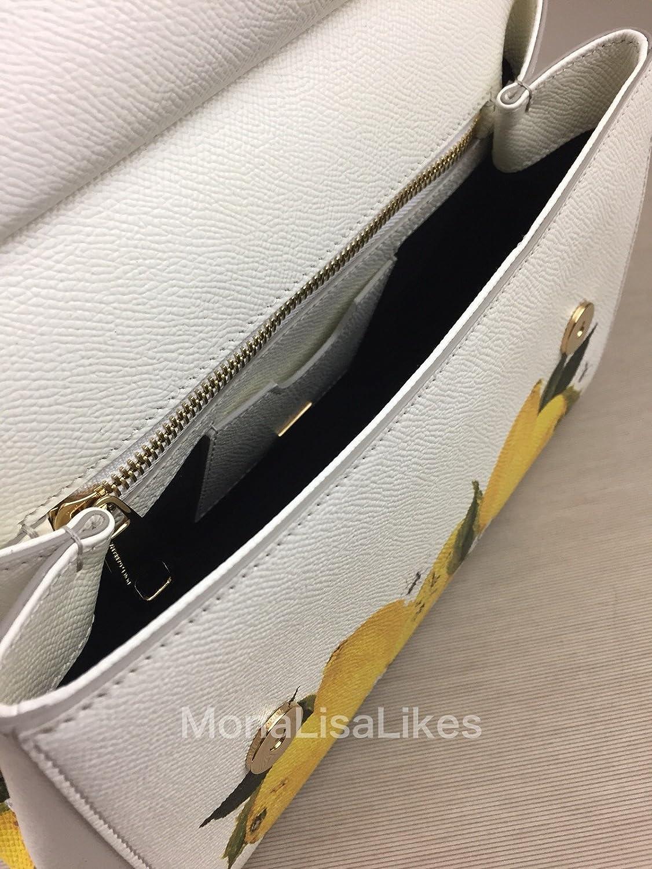 15118d36329 DOLCE   GABBANA Miss Sicily Floral Lemon Print White Dauphine Leather  Medium Bag Handbag Purse Tote  Amazon.ca  Clothing   Accessories