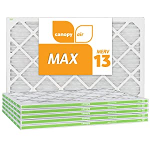 "Canopy Air 16x25x1 MERV 13 15 1/2"" x 24 1/2"" x 3/4"", 6-Pack MAX Allergen Protection Air Filter for a Healthy Home, Made in The USA"